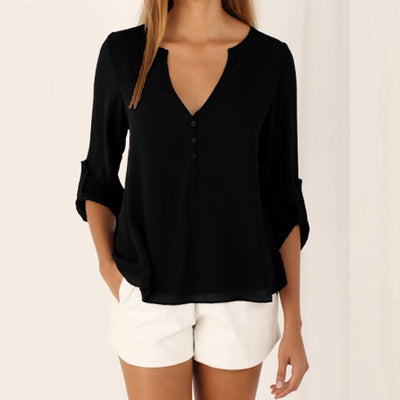 Online discount shop Australia - 5XL Women Girl V-Neck Casual Half Sleeve Silm Chiffon Shirt Blouse haut Tops party New 5colors