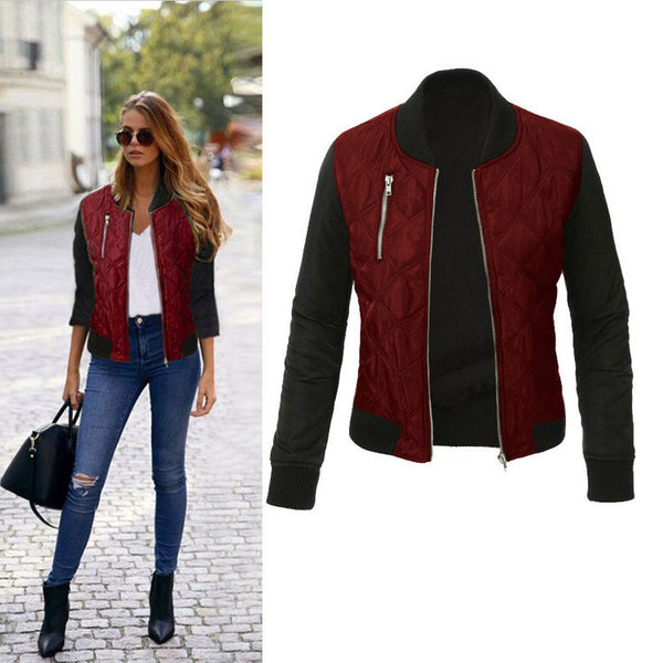 Plus SizeWarm Women Fashion Solid Color Zipper Padded Bomber Jacket Ladies Casual Coats