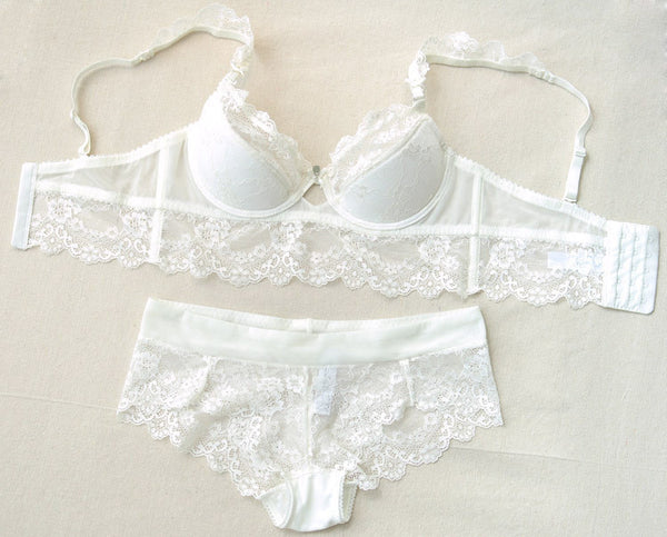 Online discount shop Australia - Fashion transparent sexy bra set plus size Women gauze embroidery ultra-thin underwear set lace brassiere and hollow out Panties
