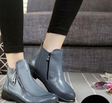 Short Flat Heels Shoes Genuine Leather Martin Boots Side Zipper Women Ankle Boots Plus Size 41-43 ZK3.5