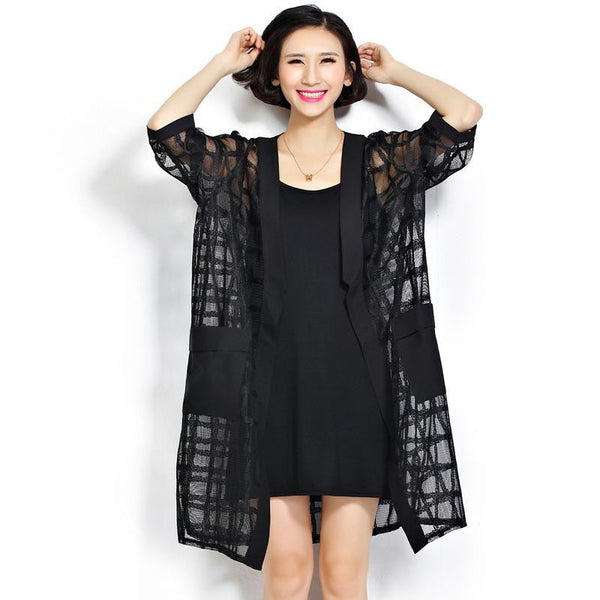 Women Loose Air Conditioner Coats Black Perspective Grids Long Plus Big Size Plaid Cardigan Women's Clothing