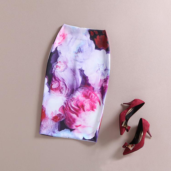 Vintage Retro Fantasy 3D Oil Painting Mid-Calf Rose Flower Floral Print High Waist Pencil Skirt Bodycon Gonne Elastic Hip