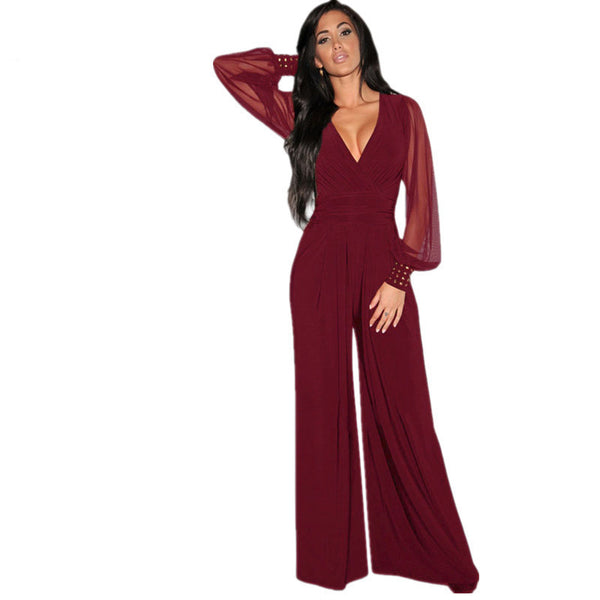 Online discount shop Australia - Dear-Lover Long Black Rompers Womens Jumpsuit  Party V-neck Embellished Cuffs Mesh Sleeves Loose Club Pants LC6650