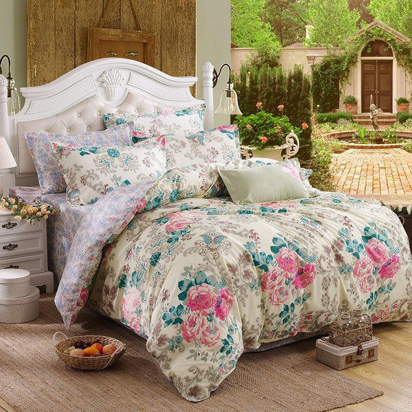Online discount shop Australia - 4pcs Bedding Set Soft Polyester Bed Linen Duvet Cover Pillowcases Bed Sheet Sets Home Textile Queen Full Coverlets