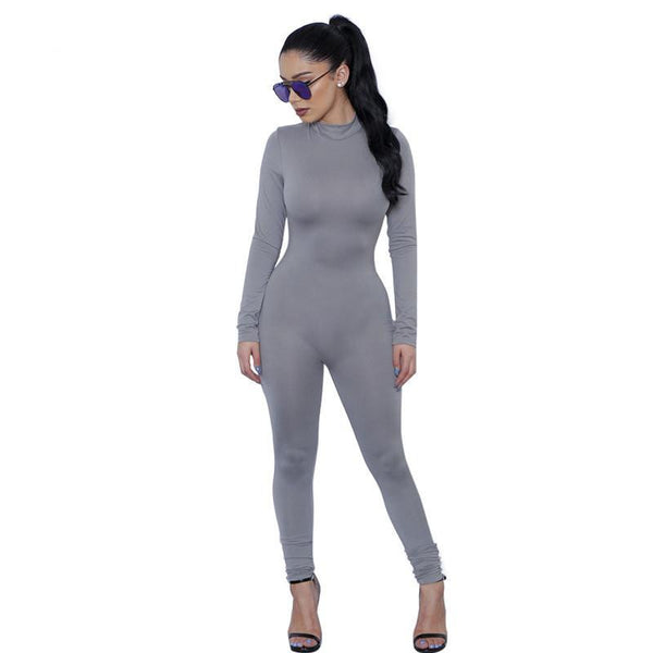 87ae5b704d Tight Bodysuit Sexy Overalls Night Club Rompers Womens Jumpsuit Playsuit  Bodycon Jumpsuit woman long Sleeve gray