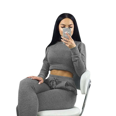 Women Two Piece Outfits Pants Set Rompers Jumpsuit Long Pants 2 Piece Set army green o neck Crop Tops Bodycon Playsuit gray