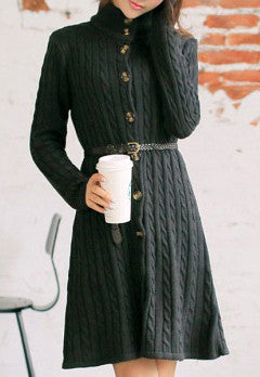 Online discount shop Australia - Long Sweater Dress Fall Winter Fashion Cable Vintage Single-breasted Knee-length Belt Knitted Maxi Dress WQL2828