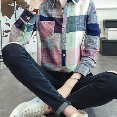 Online discount shop Australia - Ladies Female Casual Cotton Long Sleeve Plaid Shirt Women Slim Outerwear Blouse Tops Size