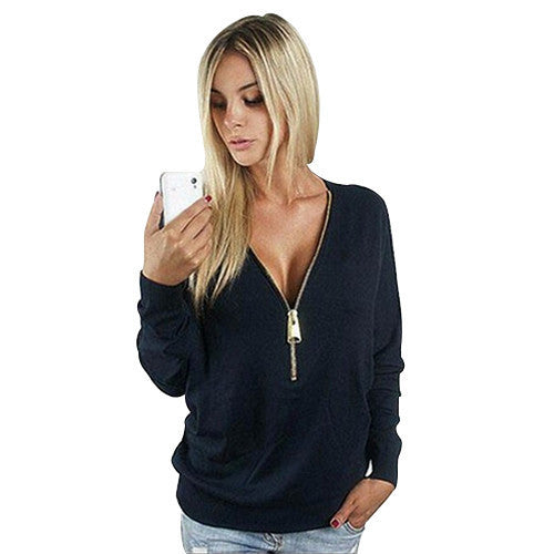 New Women Zippers Slim Woman Long Sleeve Solid Deep V Tee Shirt Tops Female Casual Blosas SWT1