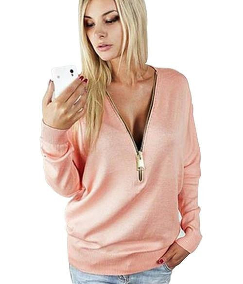 women casual T-shirt long sleeve deep v-neck sexy female tee tops solid color with zippers woman basic shirts