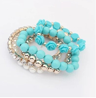 Online discount shop Australia - GR Jewelry Simulated-Pearl Bracelets Mix Beads Flower Pendants Stretch Women Bracelets & Bangles Jewelry