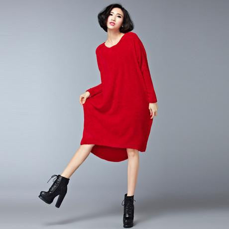 Women's Sweater Dress Terry Casual Solid Black Red Plus Size Dresses Women Fit