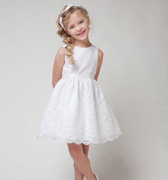 NEW children clothes girls beautiful lace dress quality white baby girls dress teenager kids dress for age 2-12