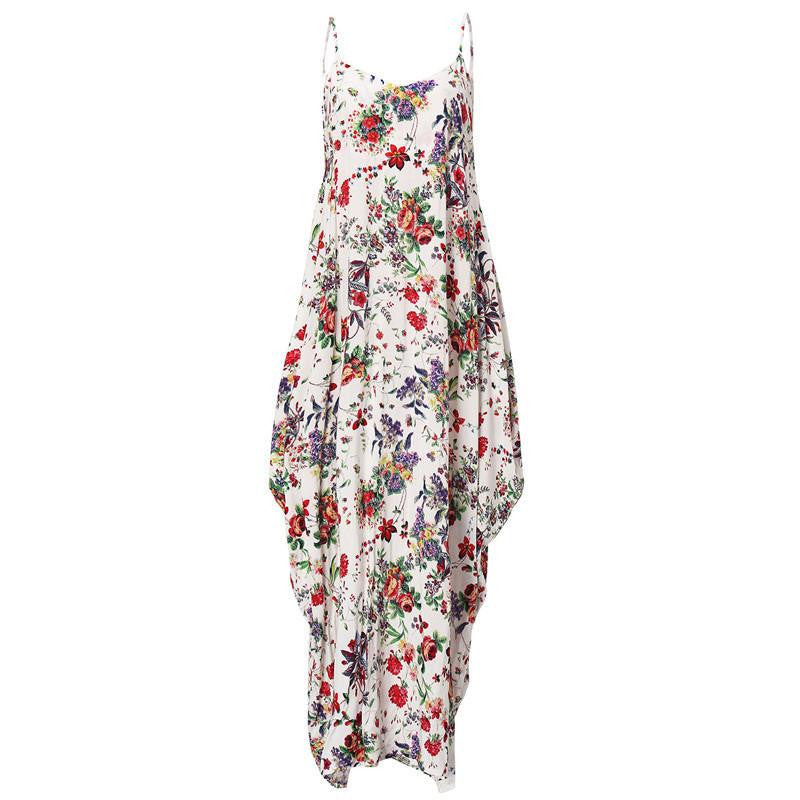 522eeb341a8 ZANZEA Boho Long Dress Women s Spaghetti Strap Backless Sexy Floral Print  Loose Sleeveless Maxi Beach Dresses