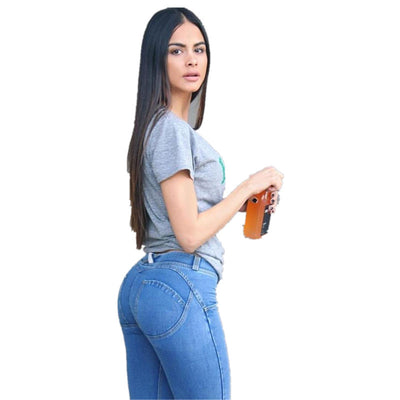 Online discount shop Australia - High waist jeans for women Sexy Skinny Push Up pencil Pants Sexy denim elastic Casual Blue Trousers plus size