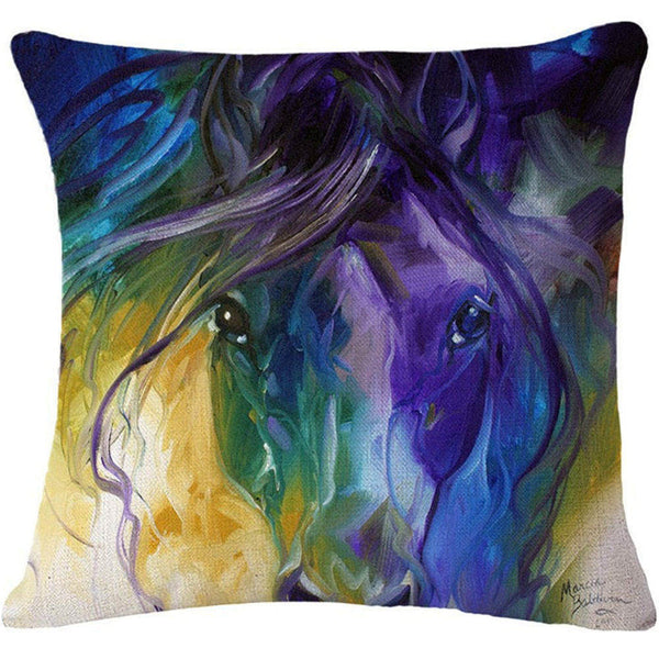 Online discount shop Australia - Cushion Cover Animal Cotton Linen Pentium Horse Felicity Cushion Mural Chicken Home Decorative Car Sofa Throw Pillow Cover