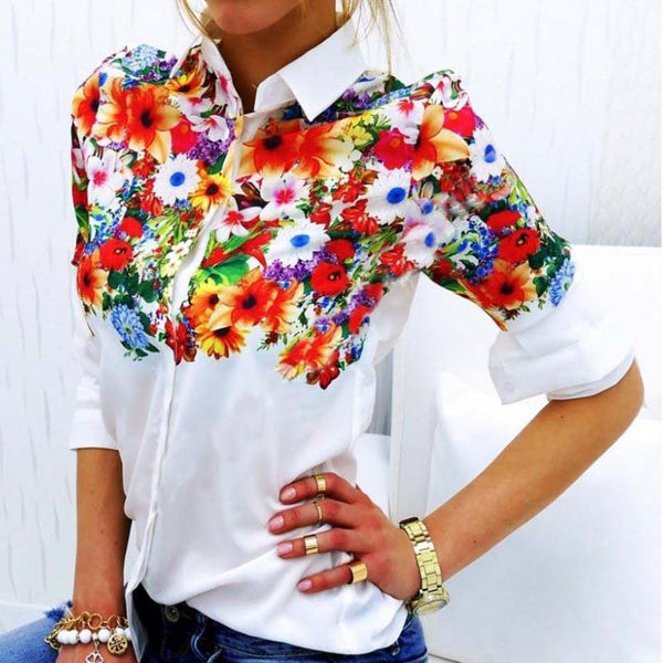 Women Chiffon T Shirts Print Floral White Turn-Down Collar Full Sleeve Casual OL Style