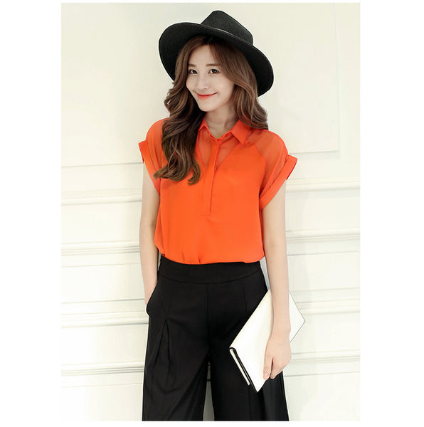 New Woman Blouses Chiffon Lace Short Sleeve Ladies Fashion Tops Office Clothing Female Shirts