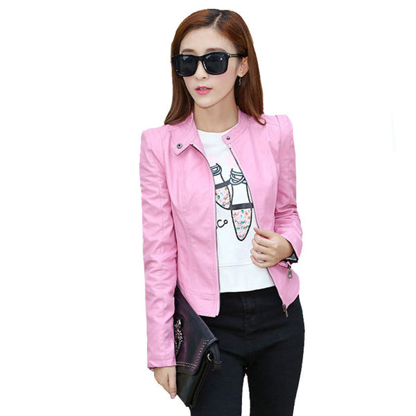 New Fashion Women's Leather Jacket Red Suede  Pu Blazer Zippers Coat Leather jackets for Women Slim