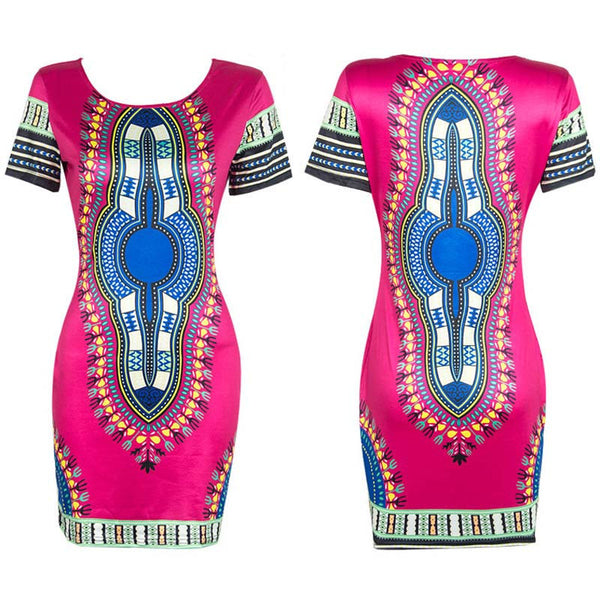 Online discount shop Australia - Boho Autumn Dress Women Traditional African Tribal Print Dashiki Dresses Bodycon Club Party Dress CLothing Robe 10677