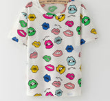 Online discount shop Australia - KaiTingu Brand New Fashion Vintage Style Harajuku T Shirt Women Clothes Tops Emoji Funny Tee Shirts Ice Cream Print