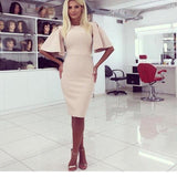 Women Casual Tight Dress Plus Size XL Women Dress Bat Sleeve Knit Autumn Dress European and American Women's Fashion