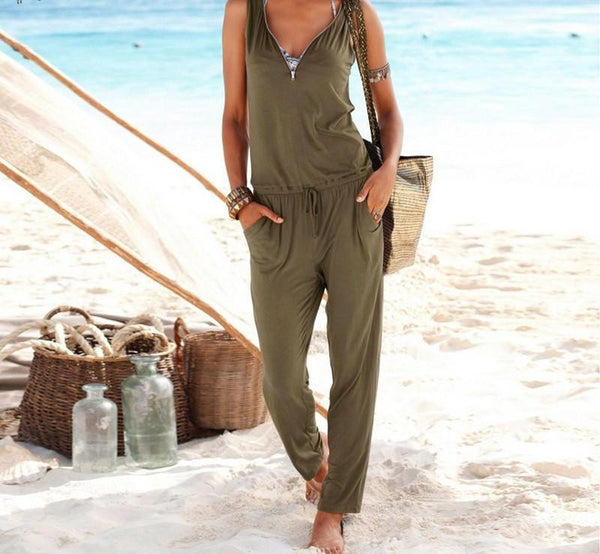 Women Sexy Beach Party Solid Rompers Casual Long Jumpsuit Plus Size Deep V Neck Zipper Sleeveless Slim Coveralls
