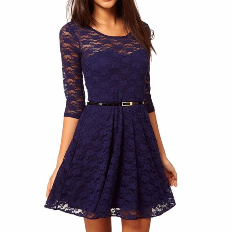 New Candy Color Elegant Lace Dress For Women Women Dresses Plus Size Fashion Lady Winter DressesBlueSa