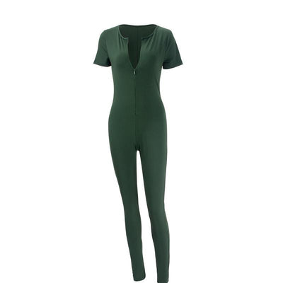 Womens Long Green Jumpsuit Sexy Bust Deep V Neck rompers women Bodycon jumpsuit
