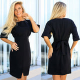 Online discount shop Australia - New Autumn Summer Fashion Women black Dress Haif Sleeve O-Neck ukraine Sashes Office bodycon Elegant dress