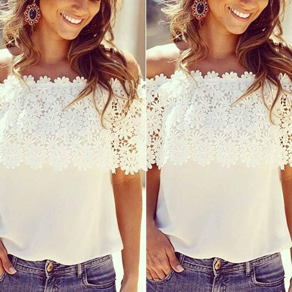 Women Lace Crochet Off Shoulder Chiffon T Shirt Casual Tops