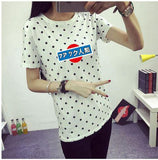 Women's T-Shirt  Clothes Girls Tee Shirt O-neck Polka Dotted Printed Tshirt Short Tops Bottoming Tops