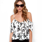 Online discount shop Australia - Fashion Women Off Shoulder Chiffon T-shirts Ruffles Back Split Spaghetti Strap Single Breasted T-shirt