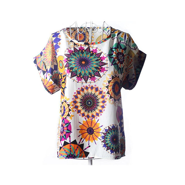 Online discount shop Australia - fashion Women Print Chiffon Shirt Vintage19 Styles Batwing Sleeve casual T Shirts Tops