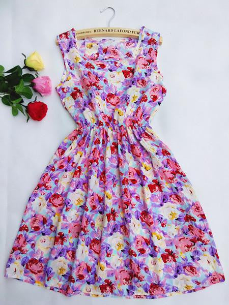 Summer Women dress New Brand Casual Print Sleeveless Chiffon stripe floral print Elastic Waist Bohemian Beach Dresses