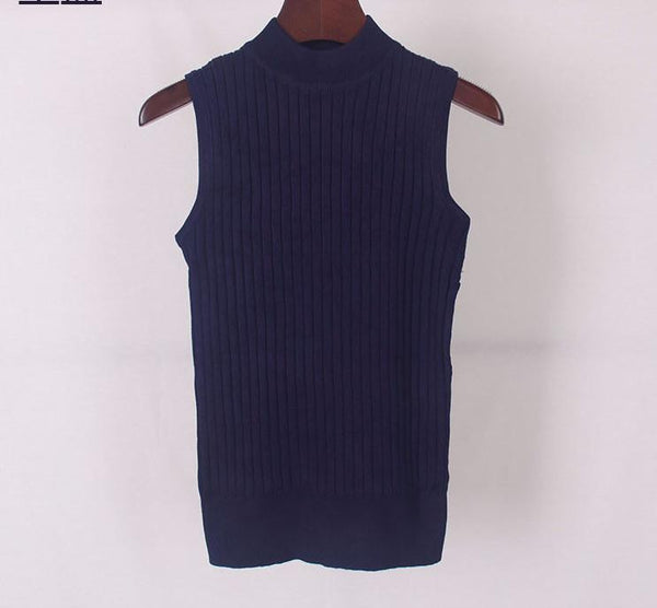 Online discount shop Australia - High Quality   Women Top Clothing Turtleneck Sleeveless T-shirt Slim Knitted Vest Women Short Knitwear WS-088