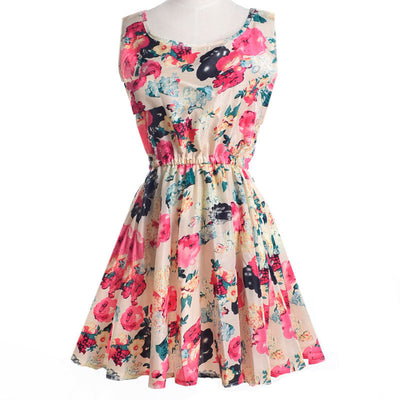 Online discount shop Australia - Brand Fashion Women New Apricot Sleeveless O-Neck Florals Print Pleated Saias Femininas Summer Clothing Dresses