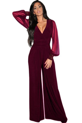 womens rompers Club Party Black wine blue V-neck Embellished Cuffs Long Mesh Sleeves Loose Jumpsuit LC6650