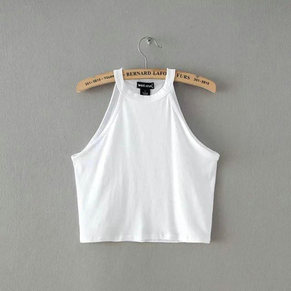 Online discount shop Australia - 5 colors New WomenTight 100% Cotton Elastic Crop Tops Cute Sleeveless T-shirts Lady Sexy Stretchable Cropped Tees