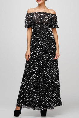 Summer Style Black Polka Dot Maxi Long Dresses Clothing Women Casual Dress for a Floor Print Chiffon Tunic 2167#
