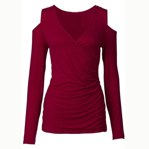 Women Sexy Bodycon Off Shoulder Casual Tops Long Sleeve Sexy V Neck Tee Shirts   Plus Size