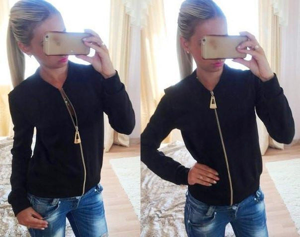 Women Jackets And Coats Solid Color Zipper Slim Fitness Thin Jacket O-neck Long Sleeve Outerwear Clothes