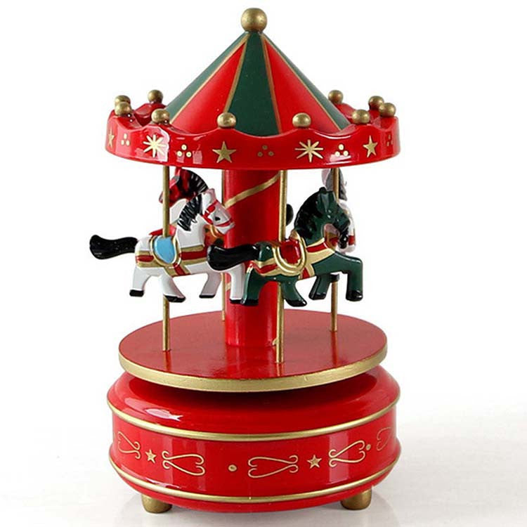 New Wooden Merry Go Round Carousel Music Box For Kids Wedding Gift