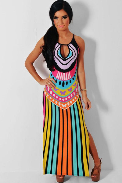 Women Style Summer Holiday Multicolor Keyhole Dress Multicolor Side Split Maxi Print Dress LC60650 Vestidos Longos