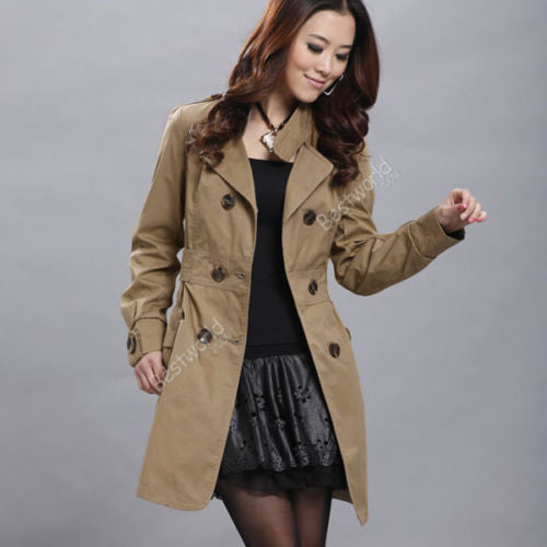 Online discount shop Australia - Fashion  Ladies Womens Pocket Slim Fit Double Breasted Trench Coat Outwear Female Overcoat