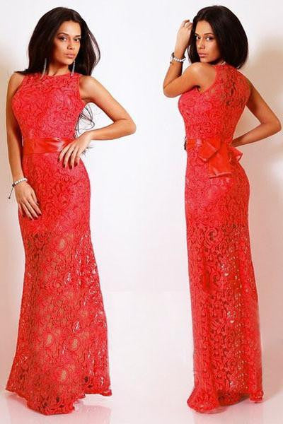 women sexy long dress ladies Red White Navy Blue Lace Satin Patchwork Maxi Party Dress LC6809