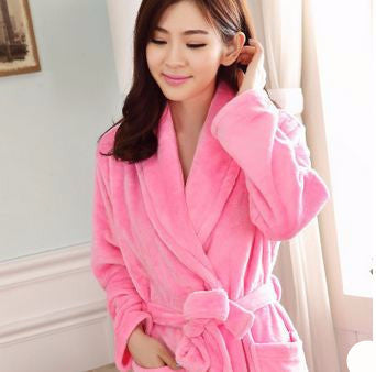Online discount shop Australia - Bath Robe Female Lovers Coral Fleece 9 Colors Night Gown Spa Bathrobe Unisex Bath Robe Women Long Sleeve Womens Gowns