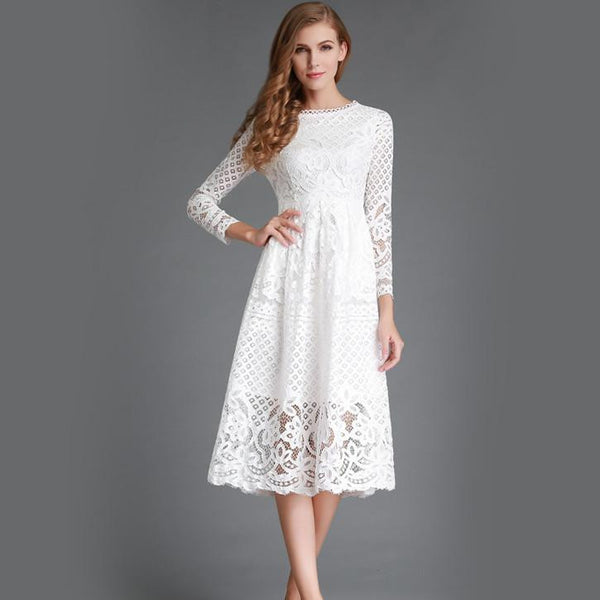 Online discount shop Australia - New Autumn Fashion Hollow Out Elegant White Lace Elegant Party Dress High Quality Women Long Sleeve Casual Dresses H016