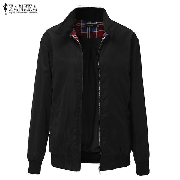 Outwear Women Casual Outerwear Long Sleeve Slim Tartan Lining Zippered Bomber Jacket Coat US Plus Size 4-22