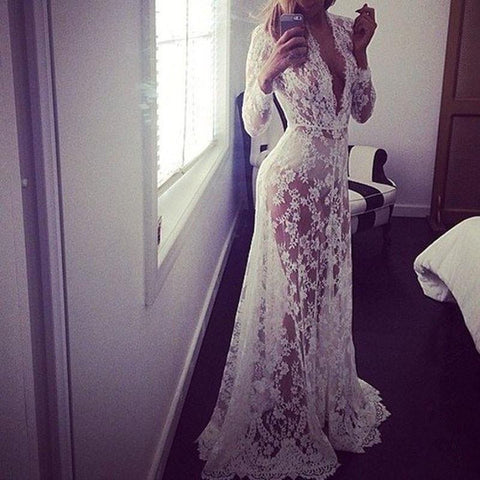 Summer European Style Womens Sexy Lace Embroidery Maxi Solid White Dress Long Sleeve Deep V Neck Vestidos Plus Size S-XL
